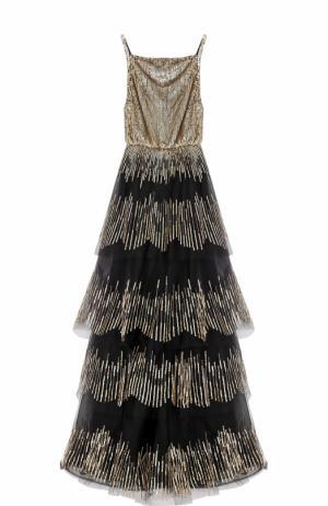 Многоярусное платье-макси с пайетками Oscar de la Renta. Цвет: черный