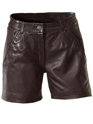 Кожаные шорты, овечья кожа наппа PATRIZIA DINI. Цвет: коричневый
