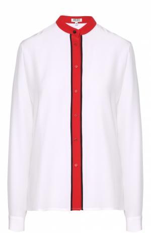Шелковая блуза прямого кроя с контрастной отделкой Kenzo. Цвет: белый