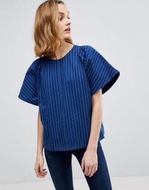 MiH Jeans Свободный топ в полоску M.i.h Mina. Цвет: синий