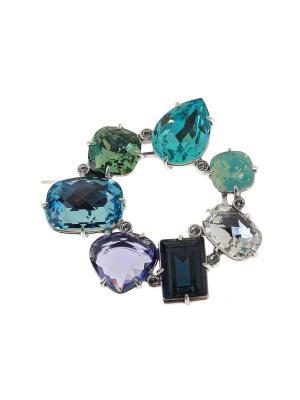 Брошь Jenavi. Цвет: серебристый, белый, голубой, зеленый, фиолетовый