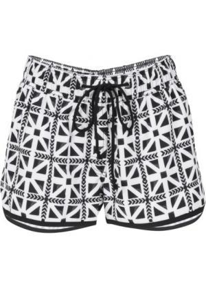 Пляжные шорты с тропическим принтом (черный/белый) bonprix. Цвет: черный/белый