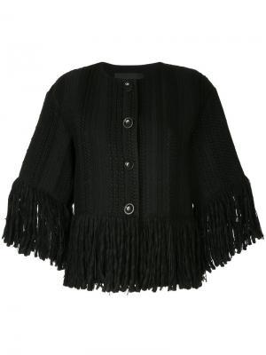 Тканый укороченный пиджак с бахромой Goen.J. Цвет: чёрный