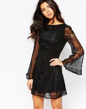 Stone Cold Fox Черное кружевное платье Duboce. Цвет: черный