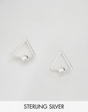 Kingsley Ryan Серьги-гвоздики в виде контурных треугольников. Цвет: серебряный