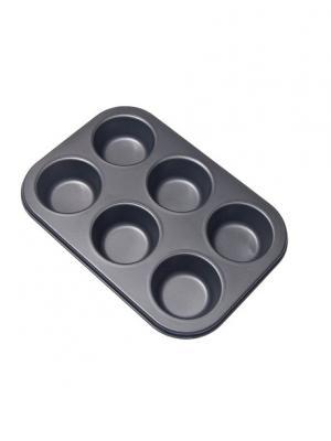 Форма для выпечки булочек 6 ячеек 26,5x18x3см SL-3104 Vetta. Цвет: черный