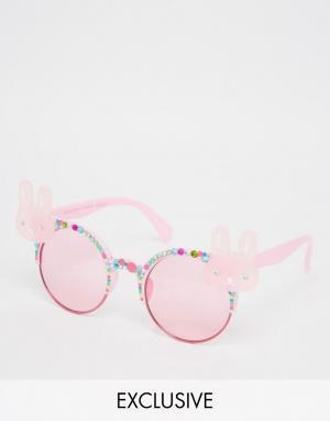 Spangled Солнцезащитные очки с кроликами. Цвет: розовый