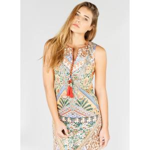 Платье прямое с графичным рисунком и длиной миди, 3/4 RENE DERHY. Цвет: желтый/рисунок разноцветный