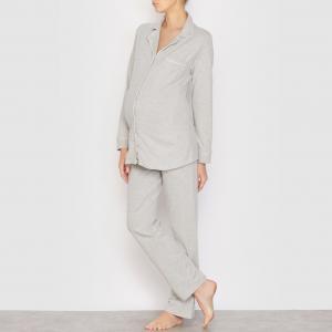 Пижама для периода беременности и грудного вскармливания COCOON. Цвет: серый меланж