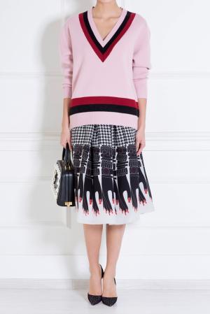 Шелковая юбка Holly Fulton. Цвет: черный, телесный, кремовый, красный