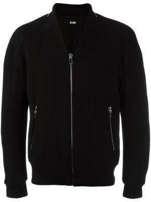 Куртка-бомбер на молнии System Homme. Цвет: чёрный