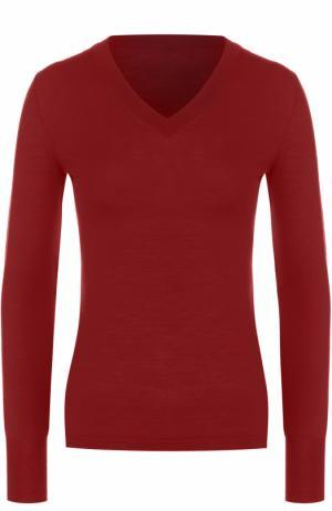 Облегающий шерстяной пуловер с V-образным вырезом Alaia. Цвет: красный
