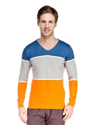 Пуловер VipDressCode. Цвет: синий, серый, оранжевый