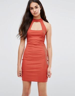 Daisy Street Облегающее платье. Цвет: оранжевый