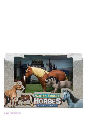 Игровой набор Лошади Happy Kin. Цвет: серо-голубой, коричневый