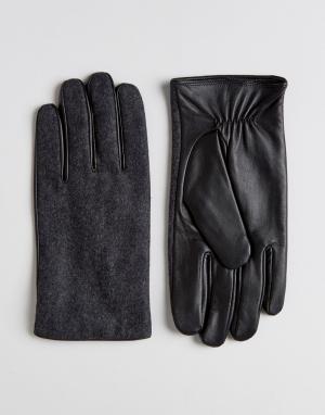 ASOS Серые перчатки из кожи и мельтона. Цвет: серый