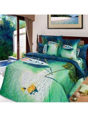Комплект постельного белья тк.Сатин в подарочной упаковке Райский остров Арт Постель. Цвет: бирюзовый, синий