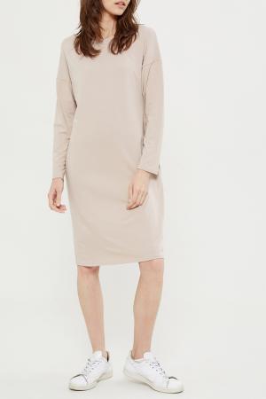 Свободное платье с длинными рукавами Lava. Цвет: бежевый