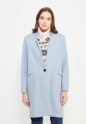 Пальто Miss by Valentina. Цвет: голубой