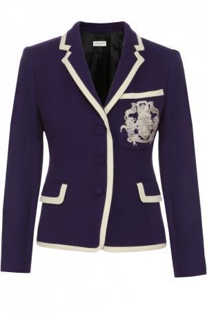 Приталенный жакет с контрастными отделкой и вышивкой Dries Van Noten. Цвет: фиолетовый