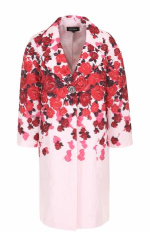 Пальто прямого кроя с цветочным принтом St. John. Цвет: красный