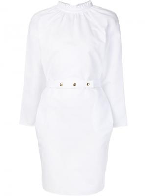 Платье с присборенным воротником Atlantique Ascoli. Цвет: белый