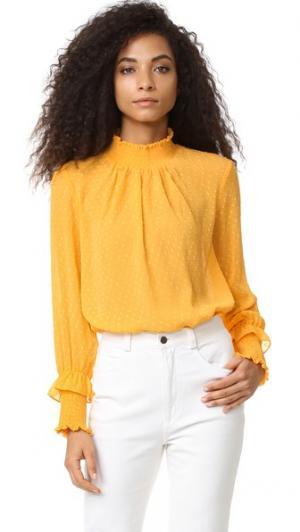 Блуза в мелкий горошек ENGLISH FACTORY. Цвет: календула