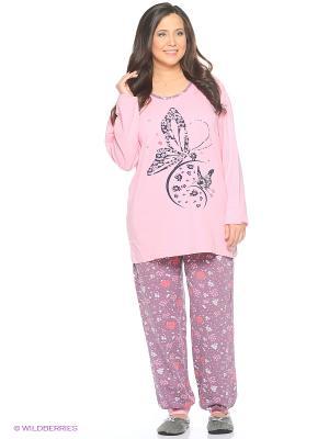 Женская пижама NICOLETTA. Цвет: розовый, лиловый