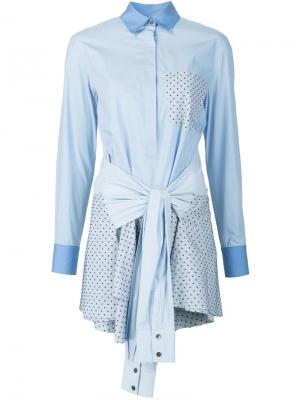 Платье-рубашка с завязками на талии Derek Lam 10 Crosby. Цвет: синий