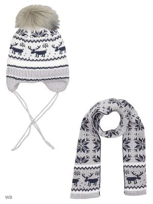 Шапка + шарф MIKIVIKI. Цвет: светло-серый, белый
