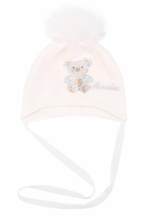 Вязаная шапка со стразами и меховым помпоном Monnalisa. Цвет: белый