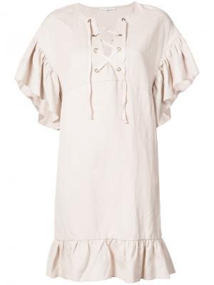 Платье с рюшами и шнуровкой Ulla Johnson. Цвет: телесный