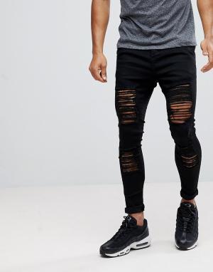 SikSilk Рваные обтягивающие джинсы черного цвета. Цвет: черный