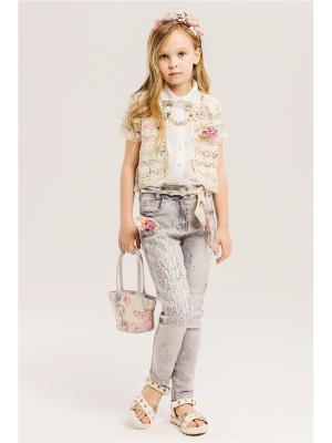 Комплект детский: джинсы, пиджак, блузка, сумочка, ободок Baby Steen. Цвет: светло-серый, бежевый, розовый