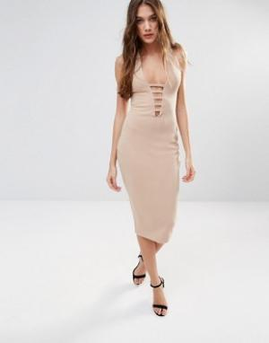 Hedonia Платье-футляр миди с кружевом. Цвет: коричневый