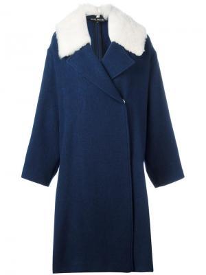 Пальто с контрастными лацканами Ter Et Bantine. Цвет: синий