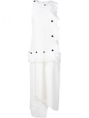 Асимметричное тканое платье Proenza Schouler. Цвет: белый