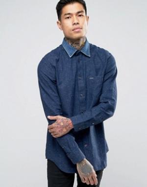 Diesel Рубашка в крапинку с джинсовым воротником S-Napp. Цвет: синий