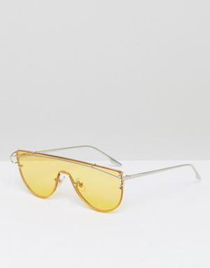 Jeepers Peepers Солнцезащитные очки-маска с желтыми затемненными стеклами Peep. Цвет: желтый