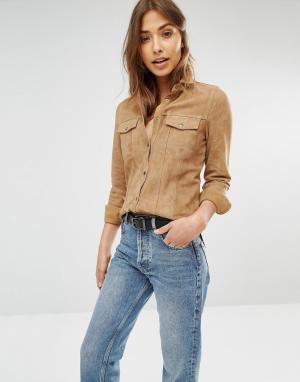 Muubaa Замшевая рубашка с двумя карманами Mason. Цвет: коричневый