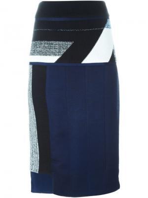 Юбка с панельным дизайном Minki Cheng. Цвет: синий