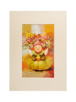 Паспарту 21*29,7 Ангел хранитель жизни Artangels. Цвет: оранжевый, бежевый, желтый