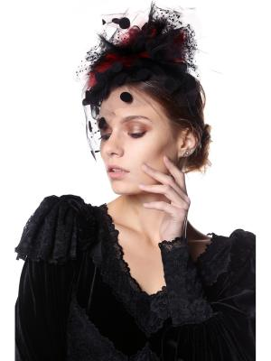 Шляпка-ободок Ретро Бордо с крупными мушками мехом и вуалеткой SEANNA. Цвет: черный
