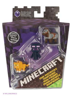 Набор из 3х фигурок персонажей Minecraft MATTEL GAMES. Цвет: черный, фиолетовый, желтый