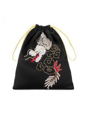 Клатч на шнурке с вышивкой дракона Attico. Цвет: чёрный