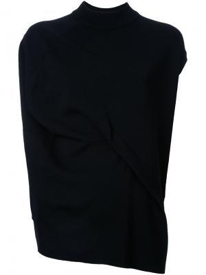 Асимметричная футболка с драпировкой Enföld. Цвет: чёрный