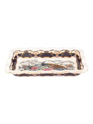 Блюдо для заливного Павлин на золоте Elan Gallery. Цвет: темно-синий, белый, золотистый