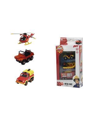 Пожарный Сэм, Игрушка транспортная, 3шт, 1:64, 1/12 Dickie. Цвет: красный, желтый