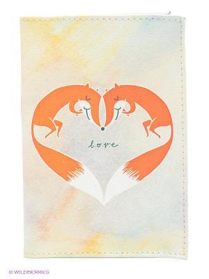 Обложка для паспорта Влюбленные лисички Mitya Veselkov. Цвет: кремовый