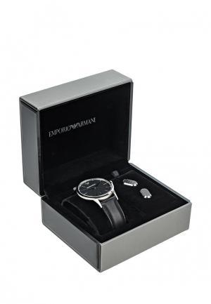 Комплект часы и запонки Emporio Armani. Цвет: черный